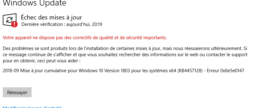 Probleme Windows Update Shadow Support Fr